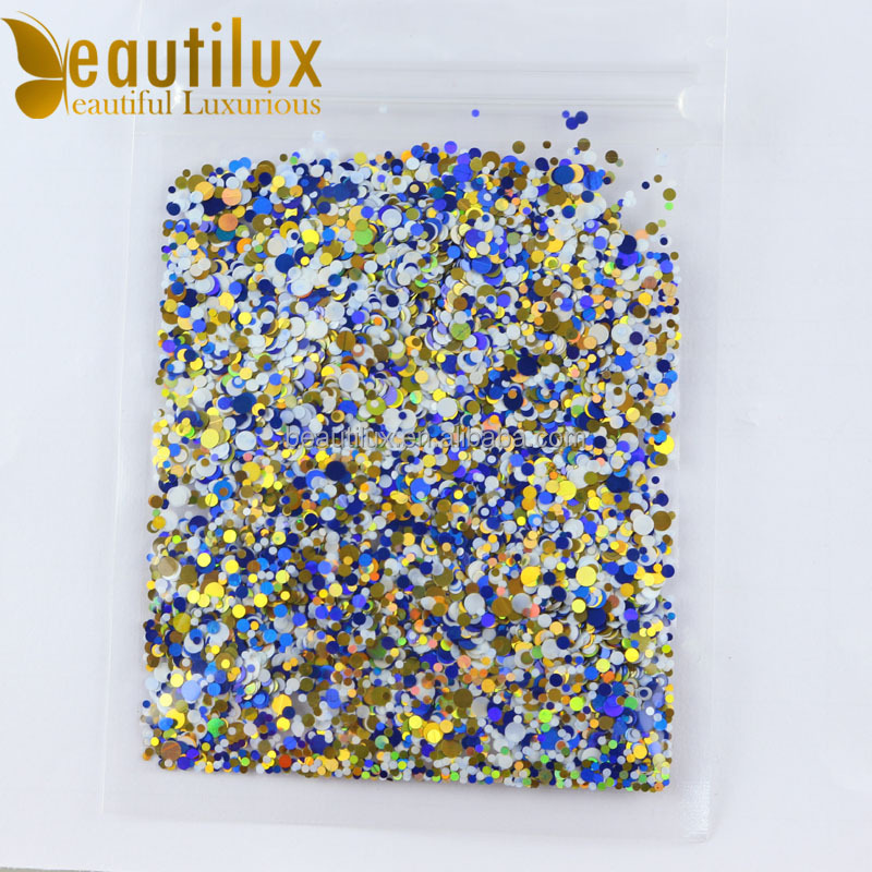 Colorful glitter sequin for gel polish , shining powder mixed designed nail art