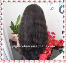 High density 100% Indian remy hair beautiful wave full lace wig