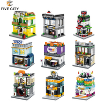 Mini Street View creative educational breaking building blocks of in City series with LEGOS