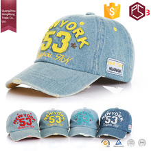 HongXiong Manufacturer professional OEM service 6 panel metal closure attractive numerals patch stone washed denim baseball cap