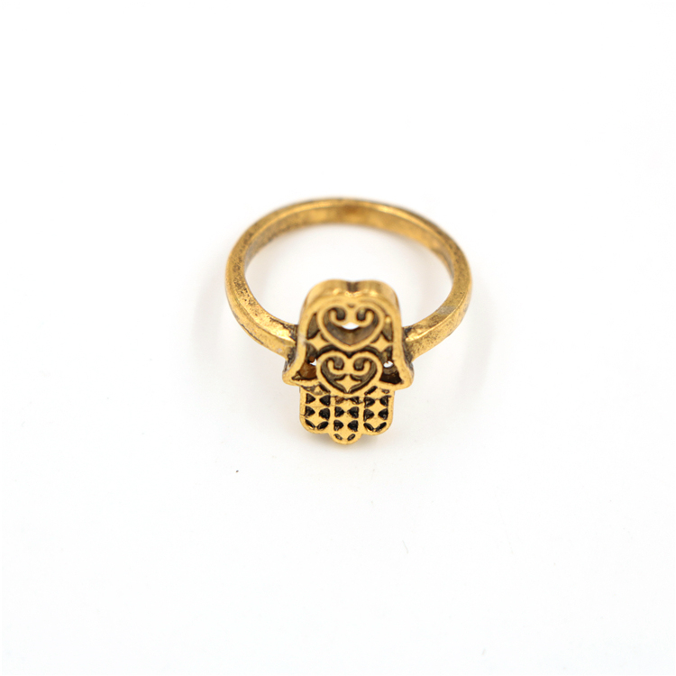 Hamsa Charm Yellow Gold Plated Rings for Junier Silver Jewelry Manufacturer