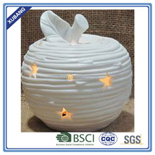 white ceramic apple with LED light for christmas ornament decorative apple