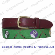Golf Balls Needlepoint Belts with Genuine Cowhide Leather