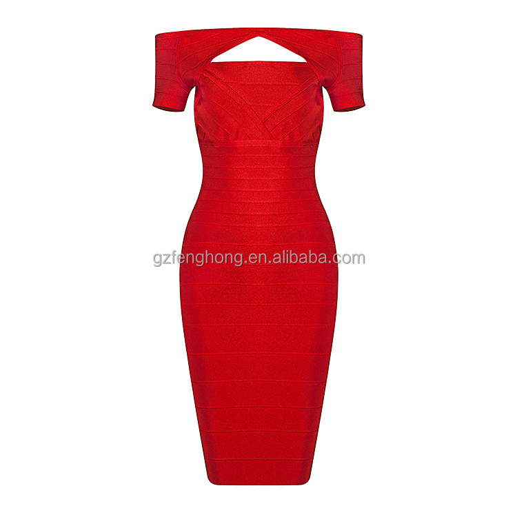 2016 new arrival women red cap sleeves cut out bandage dresses wholesale nude evening Party Dress AQ-50