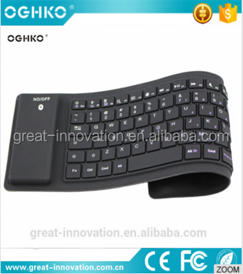Lastest wireless silicone rubber bluetooth computer keyboard without noise