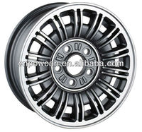 POWCAN brand Gunmetal Silver color Machined Polish Size 14x5.5 15x6.5 PCD 5x114.3 Alloy wheel rims