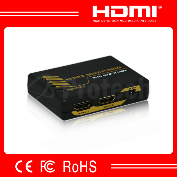 3*2 Mini HDMI Splitter HDMI1.3 3D 1080P Support DTS Digital,Dolby Digital 3 In 2 Out Splitter