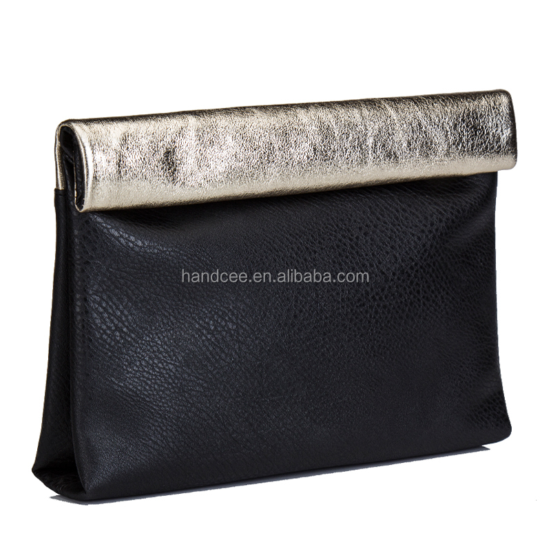 Fashion Banded PU Black Office Lady Bags