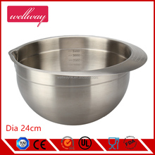 24cm new design stainless steel single salad bowl rings with handle