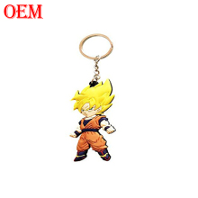OEM customized soft PVC rubber Cartoon movie dragon ball Xmen cat figures keychain toy manufacturer