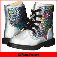 hot sale latest popular top design new stylish beautiful glitter lace up lovely high quality young girls boots