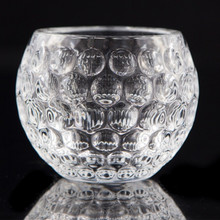 Hot sale fancy design thick glass candle holder round shape wedding centerpieces