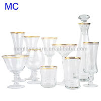 Gold rim glassware sets