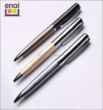 Stainless steel fluting stripe heavy polite golden color metal roller ballpoint pen with special design