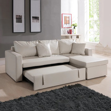 Modern folding leather sofa bed, pull out sofa bed with drawer YB2224