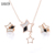 S925 Sterling Silver Star Shaped Earrings And Pendant Necklace Jewelry Set