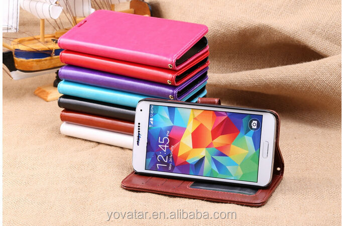 High quality PU flip folio leather wallet stand case for Samsung Galaxy S5 i9600