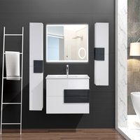 European American Modern MDF PVC Particle Plywood Lacquer Painting Melamine Bathroom Vanities Cabinets Combo