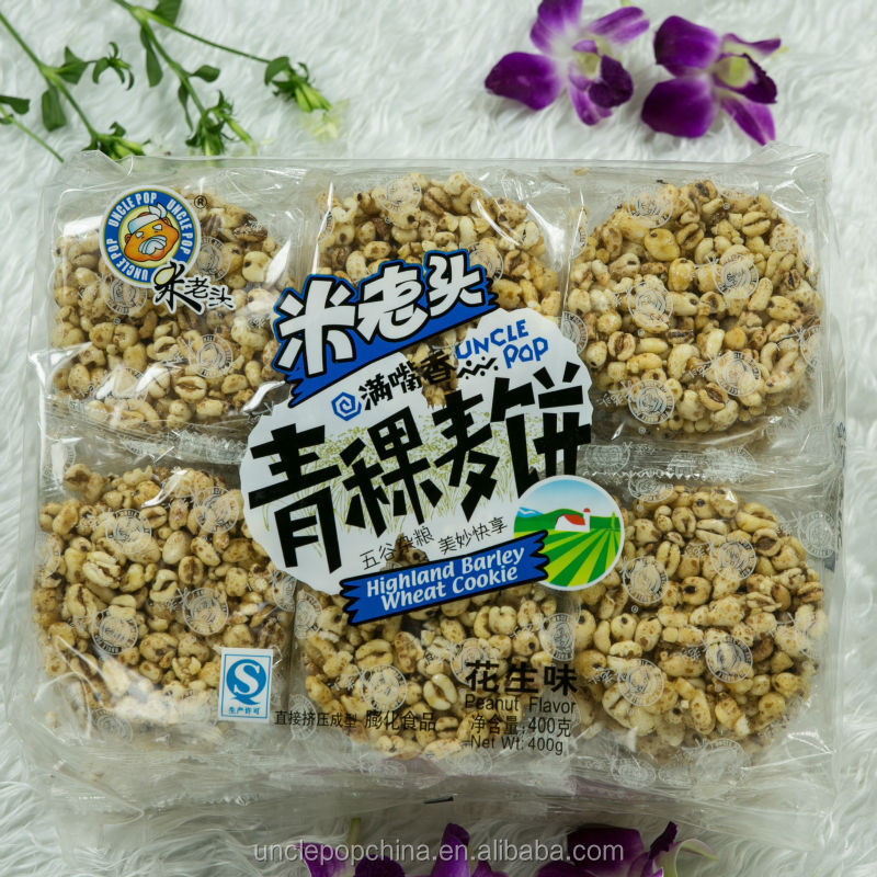grain snack 400g puffed wheat cookies with highland barley (peanut flavor)