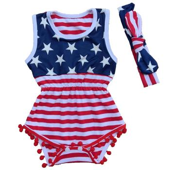 RTS USA 4th of july baby tank onesie pom pom baby girl romper