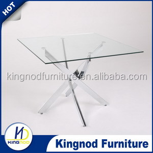 popular round glass dining room table chromed dining table,round glass dining table and 6 chairs