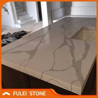 Prefab best price calacatta white quartz kitchen island countertops