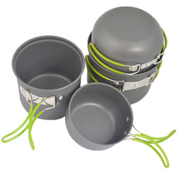 100% New Brand 4pcs/Set Picnic Non-Stick Aluminum Cookware Set Pot bowl Set for Outdoor Camping