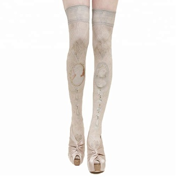 KaPin cheap unique popular printed over knee hot girls woman long tube high socks for party
