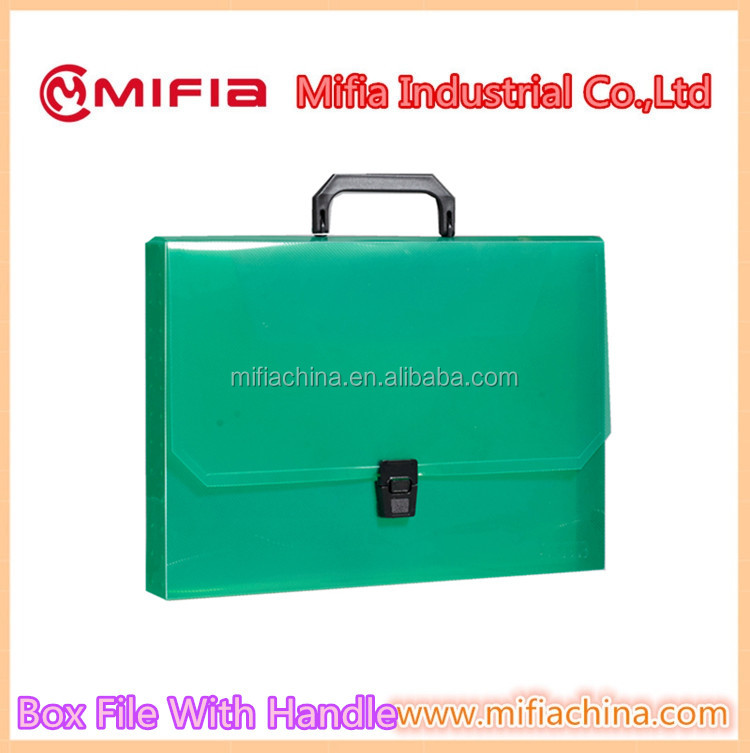 high quality colorful A4 size plastic Pp document File Box File Folder with Handle
