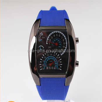 car design blue light led watches sport men led watches