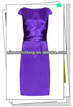 Top Fashion Bateau Neckline Dress in Purple Bodycon Waist Bandage Shiny Cocktail Dress