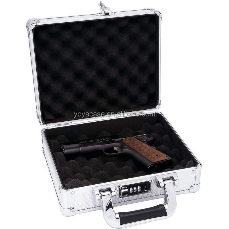 Hard Aluminum Locking Pistol or Camera Case, Metal Padded Carry Hunt Range Safe