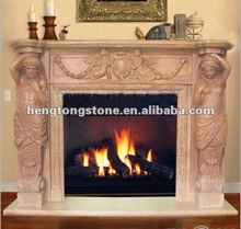 Handcarved Italian Style Pink Marble Fireplace Mantel