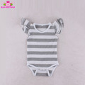 Heather grey stripe 100% cotton rompers wholesale kid clothes blank playsuit romper triple 3 layer flutters sleeveless romper