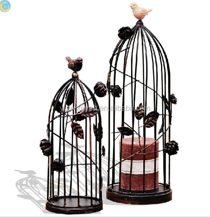 large metal bird cage for candle stand
