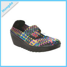 New design comfortable woven elastic shoes for women