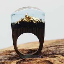 Nature Handcrafted wooden rings with miniature & unique worlds Resin Handcrafted wooden rings