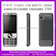 triple sim card mobile phone Z705 GSM900/1800MHZ CDMA800MHZ 2.4inch three sim cards mobile phones