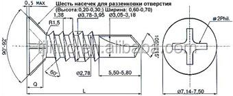 Потайной головкой/окно fram крепежных винтов для дерева