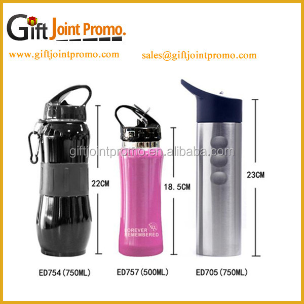 750ml BPA free single layer stainless steel straw water bottle with plastic lid