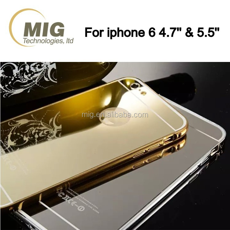 Mirror Surface mobile phone cover for iphone 6S Case Aluminum Metal bumper and Plastic back cover 2 in 1 style For iphone 6 case