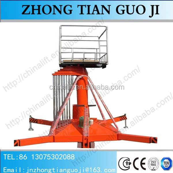 Single ladder anti-rotating hydraulic telescopic cylinder lift platform vertical man lift