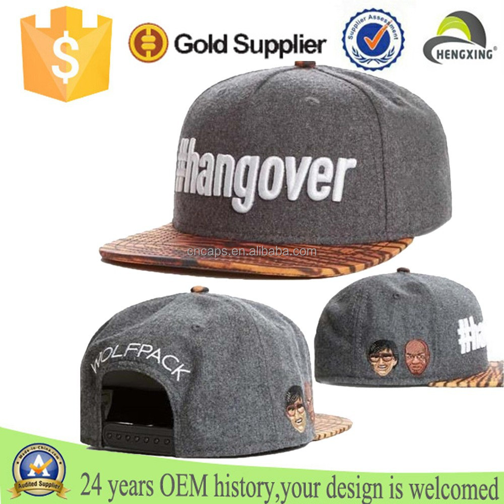 Wholesale OEM And Customised Embroidery Logo Plain 6 Panel Wool Snapback Hats/Caps