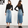 Wholesale Ladies High Quality High Waisted Classic Denim Maxi Skirt