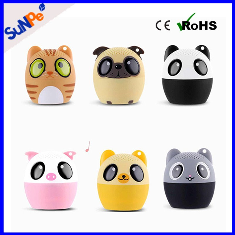 2016 best gifts Cute Animal/Pet/Design Panda/Dog/Pig/Fox/Mouse/Cat Portable Wireless Music Mini Bluetooth Speaker