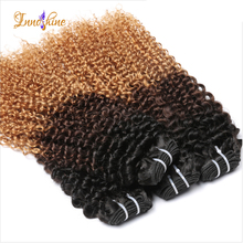 3 tone color 1b/4/27 Peruvian virgin blonde kinky curly human hair Weave bundles ombre hair extensions