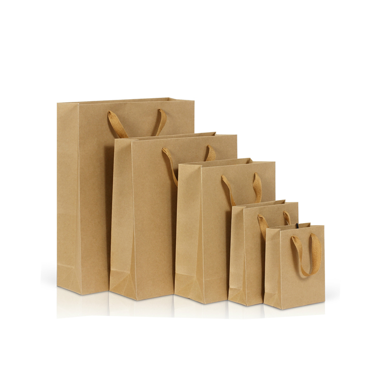 China manufacturers wholesale Latest design kraft paper bag shopping packaging and recyclable with handles