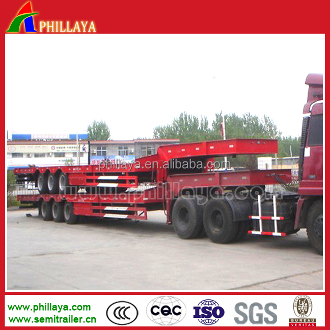 drop deck concave beam 3 Axles 60 tons low bed trailer