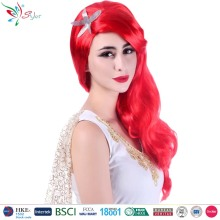 lady mermaid synthetic hair carnival party curly red wig