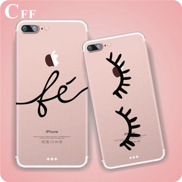 Slim Transparent LOVE LAUGH LIFE Print Cell Phone Case For iphone 7 Soft TPU Clear Skin Back Cover For Apple Iphone 7 Plus Case